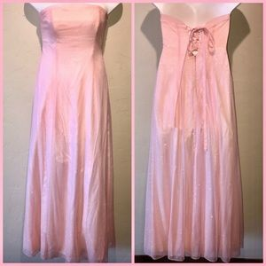 Pink Sparkly Long Prom Dress - Strapless - Size 12